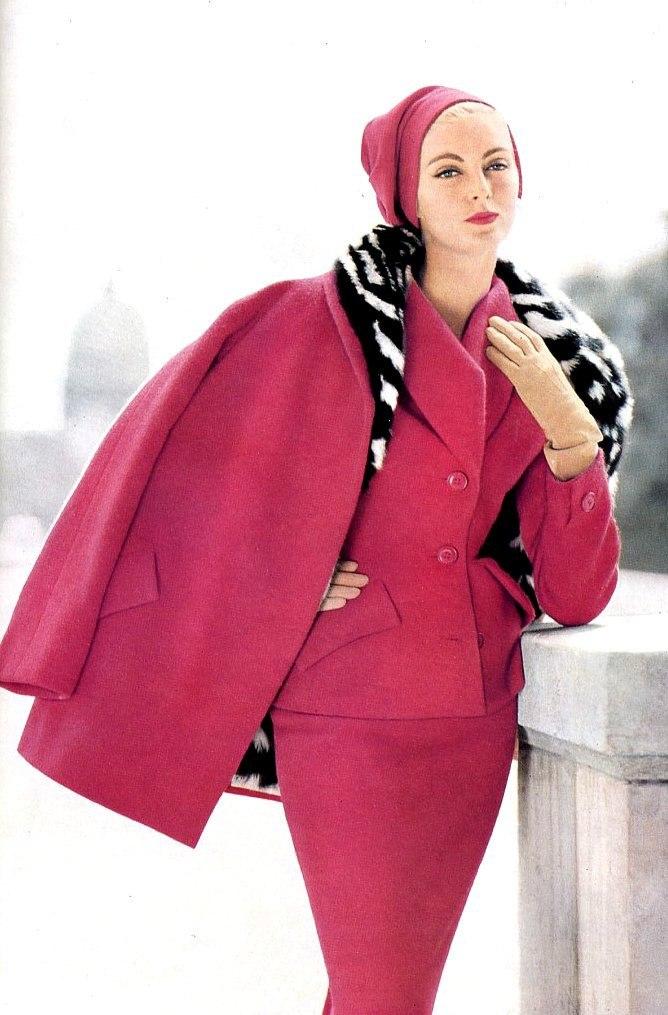 Carmen is wearing civet lined ensemble by Jean Patou, 1954