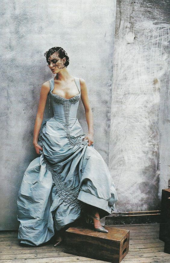 Lacroix haute couture, photographed by Peter Lindbergh for Vogue US, April 1997. Model Shalom Harlow.
