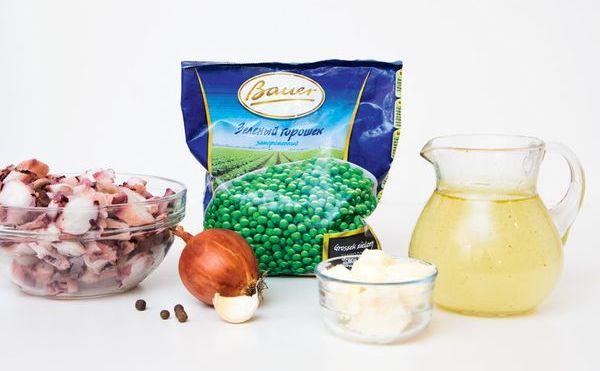 ингредиенты Суп-пюре из зеленого горошка с нежными кальмарами