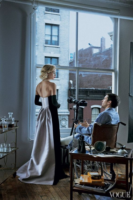 Carolyn Murphy and Tobey Maguire in Vogue's Rear Window photographed by Peter Lindbergh and styled by Grace Coddington